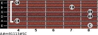 A#m9/11/13#5/C for guitar on frets 8, 4, 8, 8, 7, 4