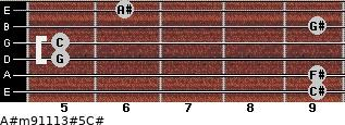 A#m9/11/13#5/C# for guitar on frets 9, 9, 5, 5, 9, 6