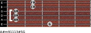 A#m9/11/13#5/G for guitar on frets 3, 1, 1, 1, 2, 2