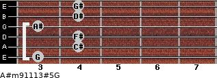 A#m9/11/13#5/G for guitar on frets 3, 4, 4, 3, 4, 4