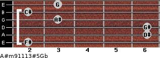 A#m9/11/13#5/Gb for guitar on frets 2, 6, 6, 3, 2, 3