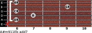 A#m9/11/Eb add(7) guitar chord