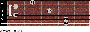 A#m9/11#5/Ab for guitar on frets 4, 4, 1, 3, 1, 2