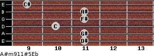 A#m9/11#5/Eb for guitar on frets 11, 11, 10, 11, 11, 9