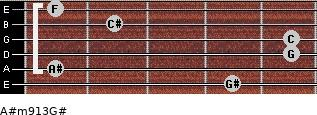 A#m9/13/G# for guitar on frets 4, 1, 5, 5, 2, 1