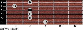 A#m9/13/G# for guitar on frets 4, 3, 3, 3, 2, 3