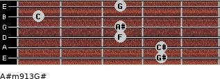 A#m9/13/G# for guitar on frets 4, 4, 3, 3, 1, 3