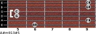A#m9/13#5 for guitar on frets 6, 9, 5, 5, 9, 9