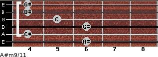 A#m9/11 for guitar on frets 6, 4, 6, 5, 4, 4