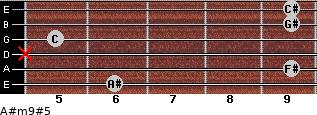 A#m9#5 for guitar on frets 6, 9, x, 5, 9, 9