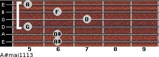 A#maj11/13 for guitar on frets 6, 6, 5, 7, 6, 5