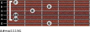 A#maj11/13/G for guitar on frets 3, 1, 1, 2, 3, 1