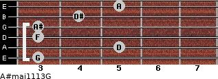 A#maj11/13/G for guitar on frets 3, 5, 3, 3, 4, 5