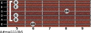A#maj11/13b5 for guitar on frets 6, 5, 5, 8, 5, 5