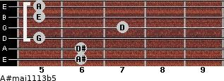 A#maj11/13b5 for guitar on frets 6, 6, 5, 7, 5, 5