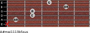 A#maj11/13b5sus for guitar on frets x, 1, 2, 2, 4, 3