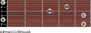 A#maj11/13b5sus/A for guitar on frets 5, 0, 5, 3, 4, 0
