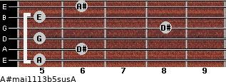 A#maj11/13b5sus/A for guitar on frets 5, 6, 5, 8, 5, 6