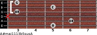A#maj11/13b5sus/A for guitar on frets 5, 6, x, 3, 5, 3