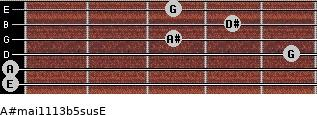A#maj11/13b5sus/E for guitar on frets 0, 0, 5, 3, 4, 3