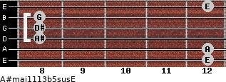 A#maj11/13b5sus/E for guitar on frets 12, 12, 8, 8, 8, 12