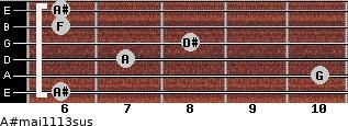 A#maj11/13sus for guitar on frets 6, 10, 7, 8, 6, 6