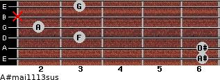 A#maj11/13sus for guitar on frets 6, 6, 3, 2, x, 3