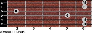 A#maj11/13sus for guitar on frets 6, 6, 5, 2, 6, 6