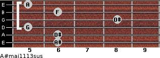 A#maj11/13sus for guitar on frets 6, 6, 5, 8, 6, 5
