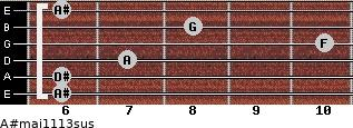 A#maj11/13sus for guitar on frets 6, 6, 7, 10, 8, 6