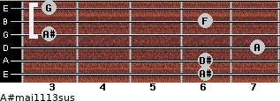 A#maj11/13sus for guitar on frets 6, 6, 7, 3, 6, 3