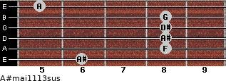 A#maj11/13sus for guitar on frets 6, 8, 8, 8, 8, 5