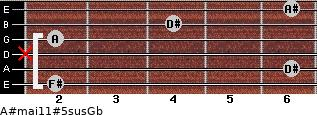 A#maj11#5sus/Gb for guitar on frets 2, 6, x, 2, 4, 6