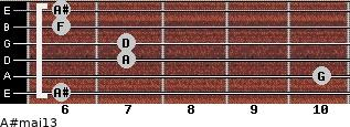 A#maj13 for guitar on frets 6, 10, 7, 7, 6, 6