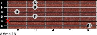 A#maj13 for guitar on frets 6, x, 3, 2, 3, 3