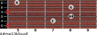 A#maj13b5sus/E for guitar on frets x, 7, 8, x, 8, 5