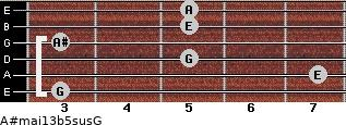 A#maj13b5sus/G for guitar on frets 3, 7, 5, 3, 5, 5