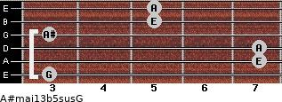 A#maj13b5sus/G for guitar on frets 3, 7, 7, 3, 5, 5