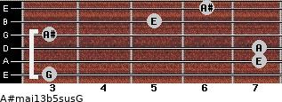 A#maj13b5sus/G for guitar on frets 3, 7, 7, 3, 5, 6