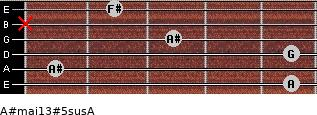 A#maj13#5sus/A for guitar on frets 5, 1, 5, 3, x, 2