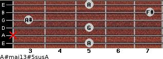 A#maj13#5sus/A for guitar on frets 5, x, 5, 3, 7, 5