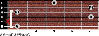 A#maj13#5sus/G for guitar on frets 3, x, 7, 3, 7, 5