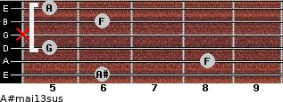 A#maj13sus for guitar on frets 6, 8, 5, x, 6, 5