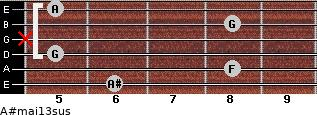 A#maj13sus for guitar on frets 6, 8, 5, x, 8, 5