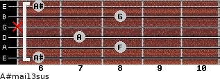 A#maj13sus for guitar on frets 6, 8, 7, x, 8, 6