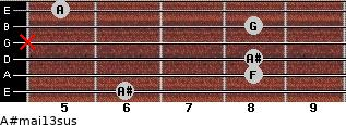 A#maj13sus for guitar on frets 6, 8, 8, x, 8, 5