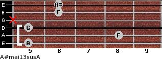 A#maj13sus/A for guitar on frets 5, 8, 5, x, 6, 6