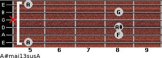A#maj13sus/A for guitar on frets 5, 8, 8, x, 8, 5
