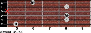 A#maj13sus/A for guitar on frets 5, 8, 8, x, 8, 6