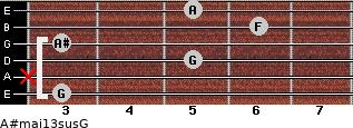 A#maj13sus/G for guitar on frets 3, x, 5, 3, 6, 5